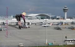 Vanessa playing at Munich Airport (piloukam) Tags: black girl lady fetish shoes noir highheels barbie gimp montage heels spike compositing lany fekete lfv hautstalons ladyfetishvanessa