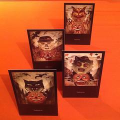 Spooklights (postcards) (bindlegrim) Tags: original orange holiday black art halloween blackcat paper cards happy artist witch antique pumpkins scarecrow ephemera german crepe devil series scared jackolanterns vintagestyle bogle