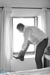 Be prepared (grimaux.jordan) Tags: wedding bw white man black window backlight shoe husband be mariage dday preparations prepared