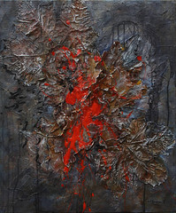 Catherina Kouninioti  Natures Assassination, 2015. Painting: acrylic and dried leaves on canvas, 27.6 x 23.6 in..  From Nature series; inspired by dramatic changes in the natural environment as a result of mans neglect.Source Abstract expressionismCo (ArtAppreciated) Tags: red abstract detail art collage painting french blood mixed media contemporary fineart surreal blogs artists expressive agenda symbolism catherina artblogs representational tumblr 2010s artoftheday artofdarkness artappreciated artofdarknessco artofdarknessblog kouninioti