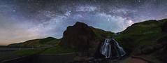 1075 (Keiichi T) Tags: blue light shadow sky cloud mountain green water japan night canon eos waterfall       milkyway 6d