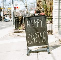 A Sign of Spring (marysmyth(NOLA13) ) Tags: toronto film sign mediumformat square spring hasselblad queenstreet thebeach 501cm kodakportra400