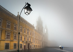 The true Light (Pietro Faccioli) Tags: street windows winter light sunlight mist portugal church lamp rain misty fog architecture umbrella doors afternoon cross post outdoor basilica perspective palace belfry national rainy convent nacional palcio pietro palacio mafra faccioli pietrofaccioli