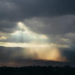 Burning light (stephaneberla) Tags: light sky cloud sun clouds mexico lights soleil lumire smoke air ciel oaxaca nuage nuages paysage montealban lumires squareframe formatcarr airvapeurfume rayofgod