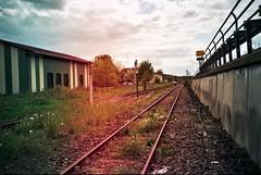 Railway in red (Vortilogue) Tags: film analog 35mm lomo cosina railway lightleaks analogue cosinacx2 cx2 c200 fujicolor knau