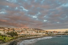 Tenerife April 2016 (2A) 018 - Sunset on Playa Fanabe (Mark Schofield @ JB Schofield) Tags: ocean sunset sea rescue mannequin architecture buildings island apartment playa atlantic collapse tenerife shops shoppingcenter volcanic teide loschristianos arona adeje loscristianos canaryisles fanabe plazadelduque roquedelconde