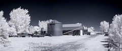 Ferme - IR - Farm (Steve Troletti Nature & Wildlife Photographer) Tags: blue trees panorama white tractor canada ir photography nikon quebec outdoor farm montreal pano 28mm steve infrared boucherville agriculture nikkor oudoor stefano hoya r72 varennes cylo 720nm infrarouge troletti trolettiphotocom