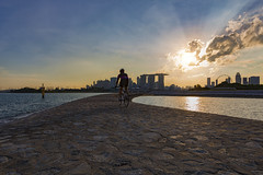 My Journey, My Path (Jacobs LB Chong) Tags: sunset bicycle marina canon cycling singapore barrage sunray 1635 f28l 5d3