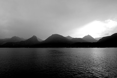 Wolfgangsee in bad weather (christiane.grosskopf) Tags: wolfgangsee blackwhite bw schwarzweiss silhouette mountains berge schlechtewetterverhltnisse badweatherconditions lakewolfgang austria sterreich sonyrx100iii sonyrx100m3