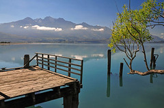 128077334 (pakimug) Tags: wood morning travel blue newzealand cloud mountain lake reflection tree nature water fence landscape pier still scenery branch peace view post outdoor jetty calm quay shore zen southisland queenstown serene kinloch tranquil lakewakatipu