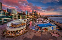 Seattle Waterfront Sunset (Fresnatic) Tags: seattle sunset color clouds marina wintersunset belltown pacificnorthwest washingtonstate hdr elliotbay downtownseattle pier66 seattlewaterfront anthonysrestaurant canonrebelxsi seattlehdr fresnatic photoshopcs5
