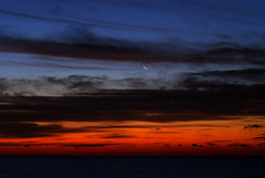 dawn with a crescent moon (purduebob) Tags: moon sunrise pier crescent predawn purduebob