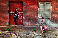 Portrait (Shabbir Ferdous) Tags: old red portrait people woman man color colour brick guy fall girl fashion wall season photography community arts rusty style places foliage entertainment ourworld dhaka trend bangladeshiphotographer falgun shabbirferdous canoneos1dmarkiv wwwshabbirferdouscom shabbirferdouscom ef70200mm28lisiiusm