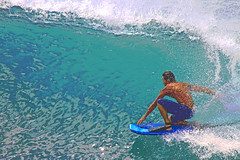 drop knee (bluewavechris) Tags: ocean sea sun water fun hawaii surf action wave maui spray foam sponge swell bodyboard dropknee sponger bodyboarder