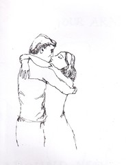 fling your arms around me 2 (Raphael Balme) Tags: love hug drawing sketchbook embrace