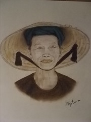 Elderly Vietnamese Woman wearing a Conical Hat (fitzjim) Tags: china old portrait woman smile wearing hat smiling lady scarf thailand eyes missing war cambodia southeastasia pretty artist vietnamese blind drawing teeth rollerderby vietnam kind elderly shade bow pastels strap ribbon laos dentist ricefields chin picking southchinasea conical bombers simplelife vietnamwar missingteeth dentalcare picker oralhygiene hardlife fieldworker cateracts socialistrepublicofvietnam vietnamesewoman jimfitzpatrick sweetoldlady pickingrice