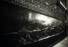 May We Never Forget (george.bremer) Tags: nyc bw usa signs newyork film monument nikon manhattan worldtradecenter wtc groundzero dr5 fm2n vuescan coolscaniv adoxchs50 2828seriese