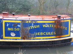 Hercules No. 50 Upper Peak Forest Canal (woodytyke) Tags: upper peak forest canal derbyshire river ashton goyt high district boat navigation small woolwich grand union carrying company maintenance craft hercules no 50 photo workboat rusty harland wolff historic narrowboat blue yellow stern cabin boatmans hull steel photography united kingdom isles icy foggy cold woodytyke england uk britain british english cheshire inland waterways system stephen woodcock photograph camera foto best picture composition digital phone colour flickr image photographer light