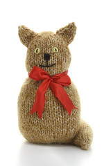 Soft Toy Pussycat In Red Bow (GezuntehMoid) Tags: pet brown wool animal feline redribbon nursery childrens knitted creature pussycat softtoy playroom huggable moggy countrygarden cuddlykitty cottagechic