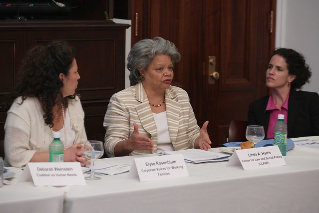"APRIL 2009: ""REAUTHORIZING THE WORKFORCE INVESTMENT ACT: A CHANCE TO GET IT RIGHT FOR YOUTH"" L to R: Elyse Rosenblum, Corporate Voices for Working Families; Linda A. Harris, Center for Law and Social Policy (CLASP);  and Shawn Jacqueline Bohen, of YEAR UP"