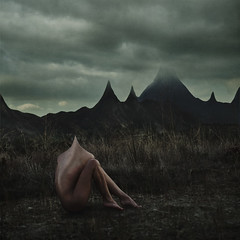 another mountain to climb (brookeshaden) Tags: distortion mountains field fog clouds official surrealism hills tennis lordoftherings peaks distance rule fineartphotography darkart able femaleform brookeshaden texturebylesbrumes