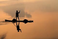 Fisherman @ Work - Kolavai Lake (bmahesh) Tags: morning light india lake canon reflections boat 100mm canon5d chennai mahesh tamilnadu cwc chengalpet canoneos5dmarkii chennaiweekendclickers canonef100mmf28lmacroisusm kolavailake bmahesh cwc144