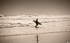 The Surfer (Daniel Wildi Photography) Tags: newzealand beach water monochrome sand waves surfer surfing vignetting aotearoa 2012 danielwildiphotography