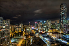 Vancouver BC Canada Cityscape with Robson Street at Night - HDR (David Gn Photography) Tags: vancouver bc britishcolumbia canada robson street downtown shopping district restaurants lights night scene cityscape skyline buildings condominiums leisure hotel room scenic view aerial panoramic longexposureskyskyscraperstraveltourismsightseeing tourist attraction nightlifecity canon eos 60d 3exphdr sigma 1020mm f35 ex dc hsm supershot