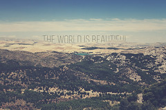 The world is beautiful (Explore #20, 24.02.2012) (Mathijs Delva) Tags: blue summer sky hot nature landscape typography spain wide andaluci