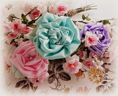 Pink, Turquoise, Lavender Roses... (AllThingsPretty...) Tags: pinkrose silkflowers shabbychic silkroses fabricflowers lavenderrose fabricroses