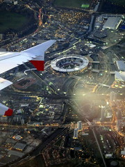 London 2012 Olympic Stadium and East Cross Route - aerial shot from plane window (mattk1979) Tags: park england london window night plane lights unitedkingdom stadium seat wing aerial olympic venue a12 stratford 2012 eastcrossroute
