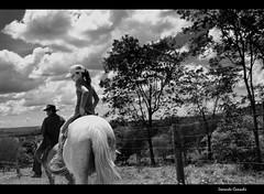 Grandfather and Duda riding (Leonardo Camacho) Tags: blackandwhite horse cavalo pretoebranco
