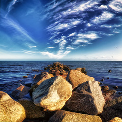 North (dubdream) Tags: ocean sea sky seascape water clouds germany landscape nikon rocks meer ngc balticsea fisheye ostsee hdr schleswigholstein d300 heiligenhafen colorimage sigma10mm dubdream
