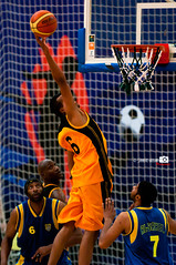 Qadsiya Basketball Action (Shahbaz Hussain's Photography) Tags: blue 6 net sports basketball yellow club lens point goal jump jumping nikon basket with action royal 7 falcon match 28 kuwait 70200 vr shah hussain qadsiya shahbaz d300s