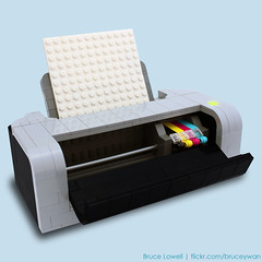 LEGO Printer (CMYK) (bruceywan) Tags: sculpture black yellow paper print lego printer bruce cyan magenta replica photostream lowell moc cmyk ib1 ironbuilder brucelowellcom ironbuilderblcom ibblcom