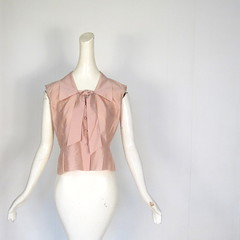 1950s dusty pink shantung ascot blow blouse, by Diane Young (Small Earth Vintage) Tags: vintage clothing women ascot blow blouse 1950s 50s sleeveless shantung dustypink dianeyoung smallearthvintage