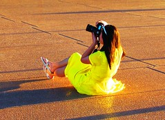 Opera House Sunset Photographer (Allan Rickmann) Tags: woman yellow opera photographer dress harbour sydney australia newsouthwales operahouse