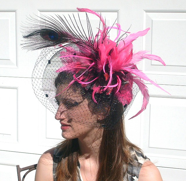 Hot pink and Black Fascinator