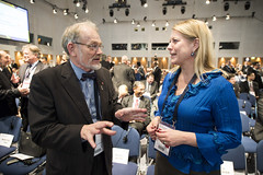 Catharina Elmsäter-Svärd chats with a delegate