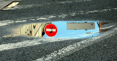 Theft of a stop seen in a puddle (Croix-roussien) Tags: streetart reflection lyon perspective reflet stop panneau insolite flaque graphique potd:country=fr