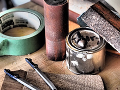 In The Workshop (Tony Gasparetto) Tags: woodwork paint tools tape grainy compass sandpaper