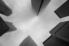 Misty Monoliths (Jack Landau) Tags: city urban mist toronto fog clouds skyscrapers district towers foggy bank financial