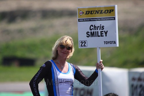 Chris Smiley's grid board during the BTCC Weekend at Thruxton, May 2016