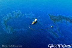 Oil Skimming In Gulf (Greenpeace USA 2016) Tags: ocean usa gulfofmexico louisiana ship gulf shell greenpeace aerial oil drilling skimming fossilfuel breakfree cleanenergy portfourchon