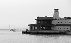 Morning Ferry (chantsign) Tags: bridge windows lighthouse water ferry dock baywindow