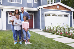 Happy black family standing outside their house (reputationtempe) Tags: family girls boy house man black home smiling horizontal kids sisters standing garden children outdoors happy parents togetherness women toddler dad realestate brother garage father daughter fulllength mother entrance property son siblings mum achievement housing copyspace adults domesticlife confident 30s bonding finance frontview holdingbaby homeowners lookingatcamera armaround millennials mediumgroupofpeople africanamericanethnicity