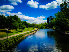 Serenity (Artofguy) Tags: park blue sky reflection water clouds creek landscape canal outdoor ottawa calm serene meditation rideau watercourse calmness