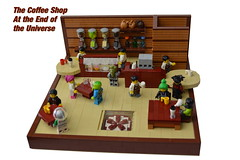 The Coffee Shop At the End of the Universe (mkjosha) Tags: coffee shop lego gates aliens clones scifi andromedas kawashita