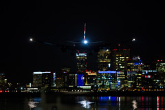 Speedbird (cvillandry (Instagram & Twitter @cvillandry)) Tags: ocean city travel boston skyline night buildings airplane aviation airline boeing boeing777 lowlightphotography