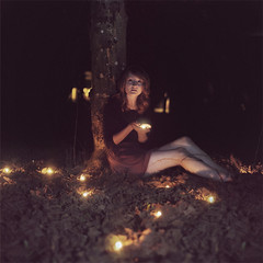 the Darkness (gurbir.grewal) Tags: autumn portrait tree leaves night dead fire candles dry eerie candlelight